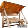 Деревянные садовые качели Сенди А с подлокотниками, подставками под ноги, солнцезащитным экраном и подголовниками
