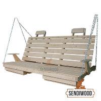 Деревянная лавка для садовых качелей с подлокотниками, подголовниками и подставками под ноги
