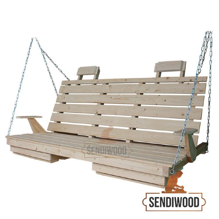 Деревянная лавка для садовых качелей с подлокотниками, подголовниками и подставками под ноги неокрашеная