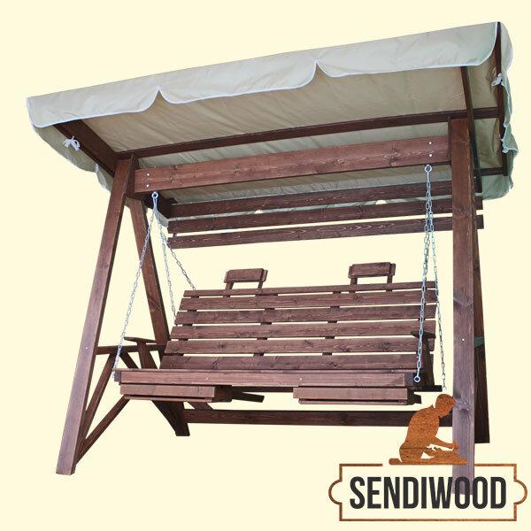 Деревянные садовые качели Сенди А с тентом, подлокотниками, подставками под ноги, солнцезащитным экраном и подголовниками
