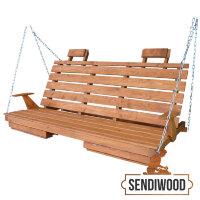 Деревянная лавка для садовых качелей с подлокотниками, подголовниками и подставками под ноги цвет Клен