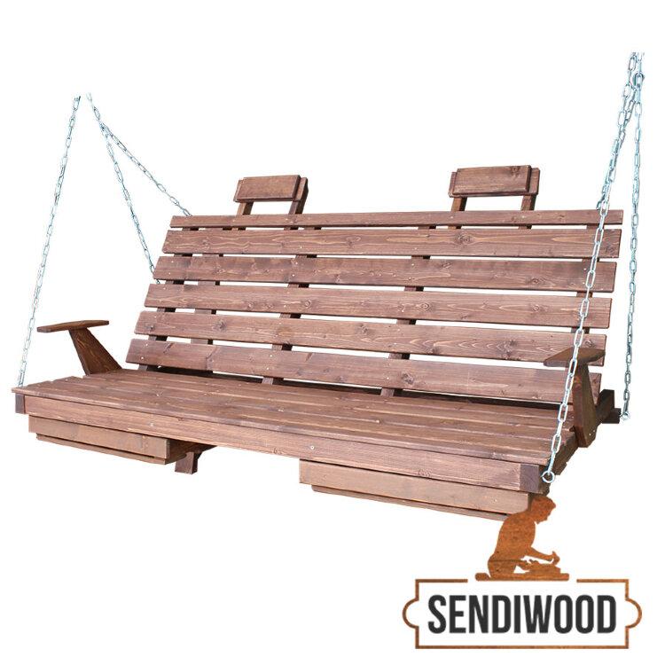 Деревянная лавка для садовых качелей с подлокотниками, подголовниками и подставками под ноги цвет Палисандр
