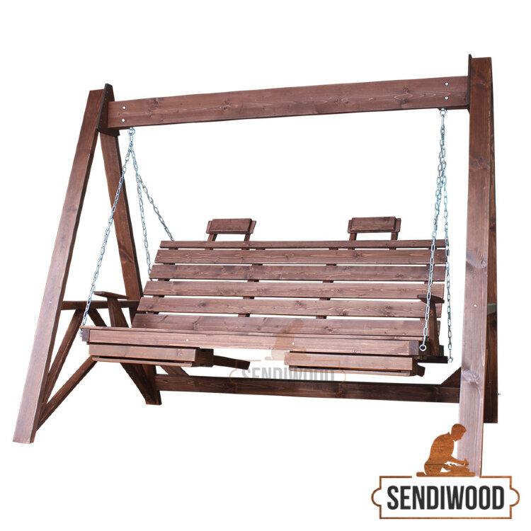 Деревянные садовые качели Сенди А без крыши с подлокотниками, подголовниками и подставками под ноги