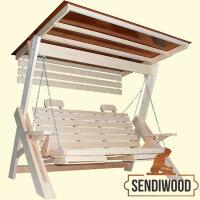 Cадовые качели Сенди Л ПК8 некрашеные с зимней крышей, подлокотниками, подголовниками, подставками под ноги и солнцезащитным экраном