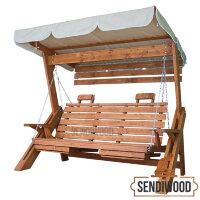 Деревянные садовые качели Сенди Л клен с тентом, подлокотниками, подставками под ноги, солнцезащитным экраном и подголовниками