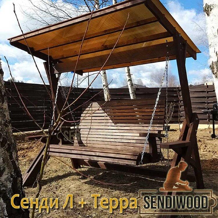 Деревянные садовые качели Сенди Л ПК8 с лавкой Терра 1,5