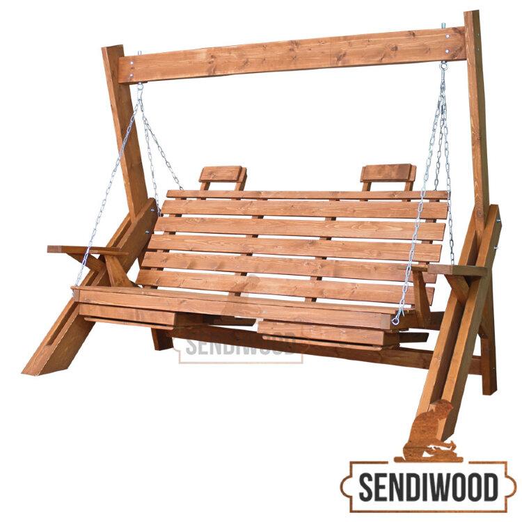 Деревянные садовые качели Сенди Л клен без крыши, подлокотниками, подставками под ноги и подголовниками