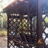 Деревянные качели пергола Сенди П Люкс Палисандр с лавкой диваном трансформером