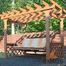 3-х местные деревянные садовые качели - пергола Сенди П цвет орех