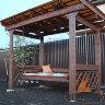 Деревянные качели пергола Сенди П трансформер с лавкой диваном