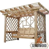 Деревянные качели пергола Сенди П Люкс с лавкой диваном трансформером