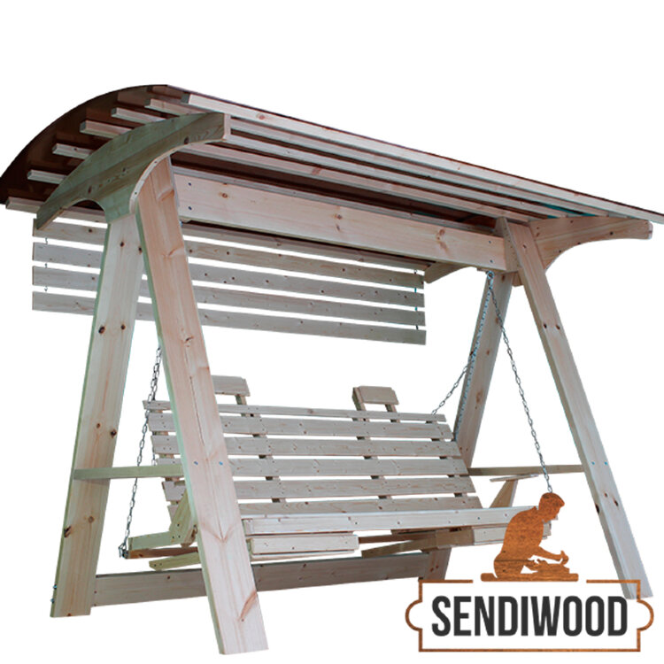 Деревянные садовые качели Сенди А ХХL с лавкой 200 см., подлокотниками, подставками под ноги, солнцезащитным экраном и подголовниками