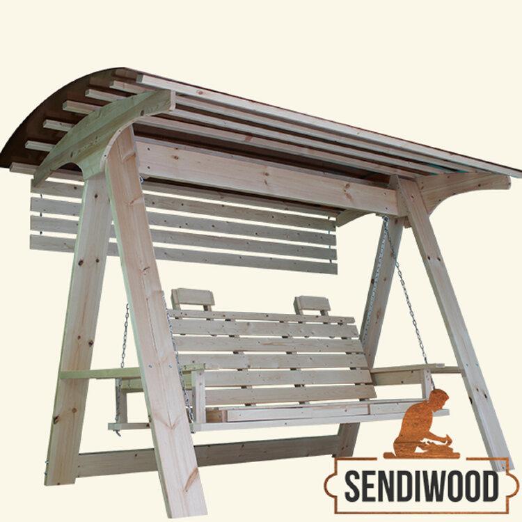 Садовые качели Сенди А ХХL с лавкой диваном трансформером, подставками под ноги, солнцезащитным экраном и подголовниками