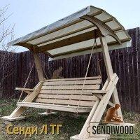 Деревянные садовые качели Сенди Л ТГ с гнутой крышей и тентом ПВХ