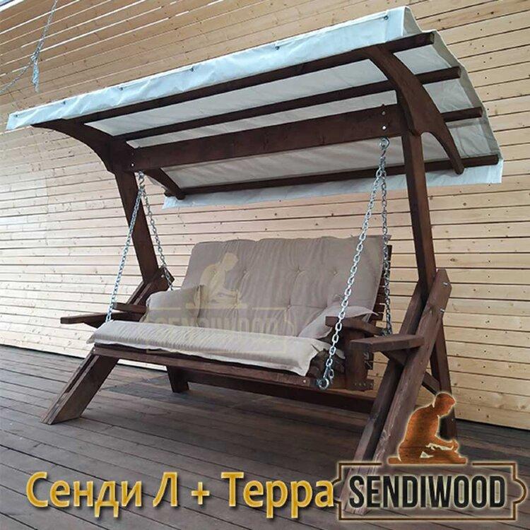 Деревянные садовые качели Сенди Л ТГ Терра с гнутой крышей и тентом ПВХ