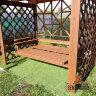 Деревянные качели пергола Сенди П Люкс Орех с лавкой диваном трансформером