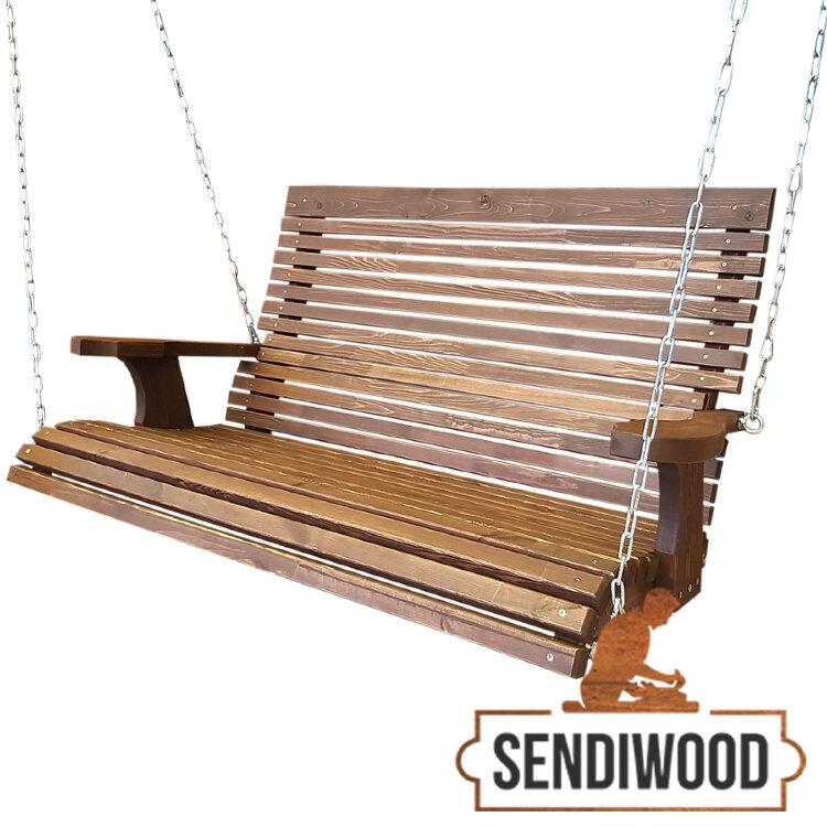 Деревянная эргономическая лавка Терра 2 метра для садовых качелей