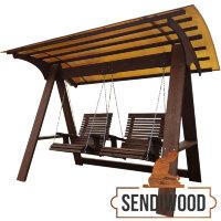 Деревянные садовые качели Сенди А ХХL с 2-мя навесными креслами